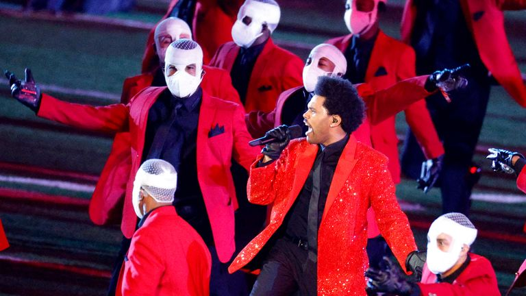 The Weeknd performs during the 2021 Super Bowl halftime show