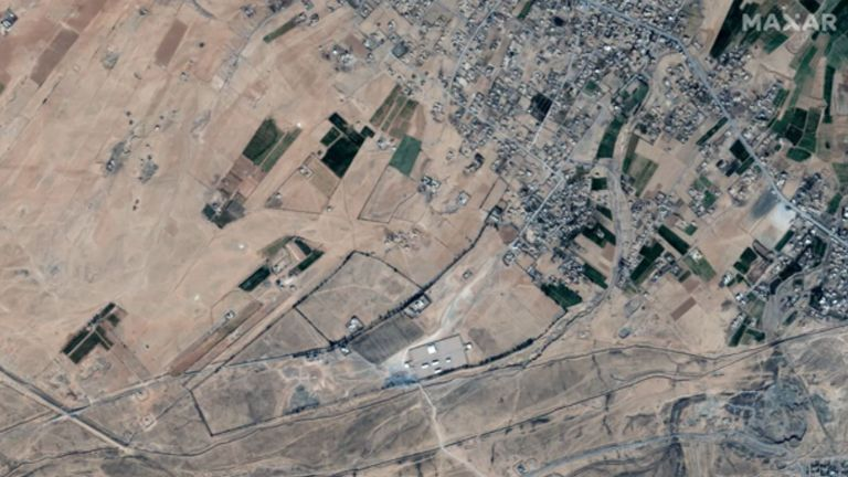 This is the Syria/Iraq border area the US airstrikes targeted. Pic: ©2021 Maxar Technologies