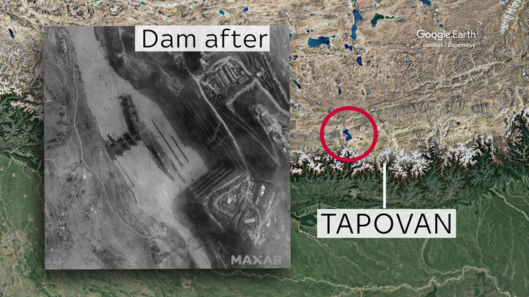 This satellite image shows the Tapovan dam after the flood. Credit: Satellite image © 2021 Maxar Technologies