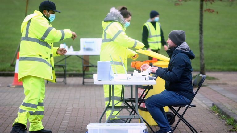 Surge testing taking place in Goldsworth Park, Surrey