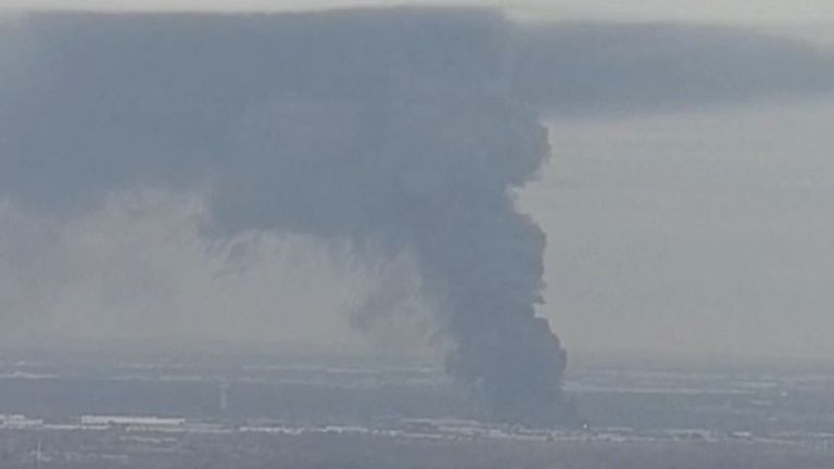 Plume of smoke from Texas recycling plant fire is visible from miles away