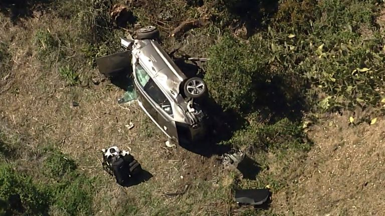 Tiger Woods car crash. Pic: AP