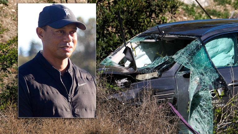Tiger Woods crash. Pics: Reuters/AP