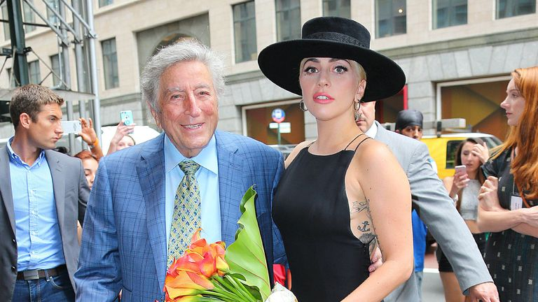 Lady Gaga and Tony Bennett at this 90th birthday in 2016. Pic: AP