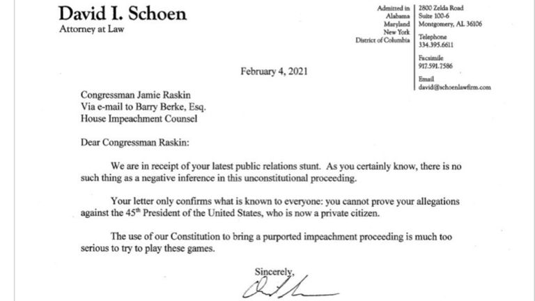 "The letter called the House's request for Mr Trump to testify a ""public relations stunt"""
