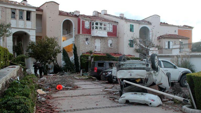 a small tornado has struck Cesme