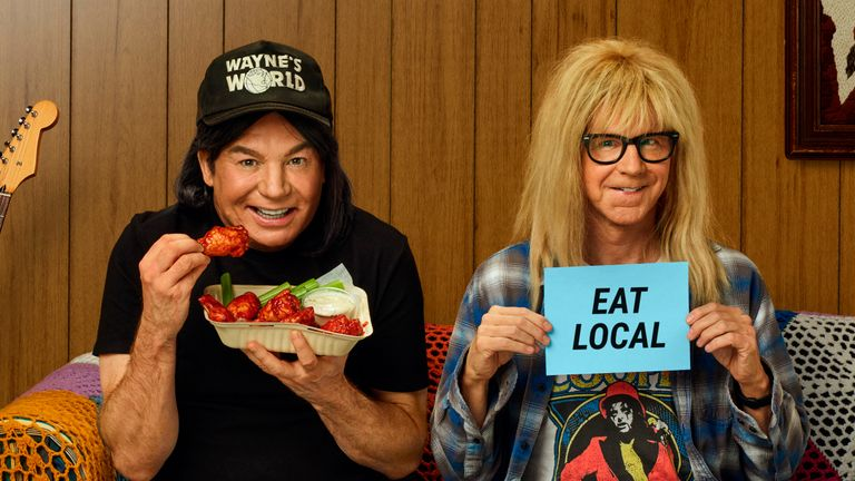 Mike Myers and Dana Carvey made a surprise appearance as their characters from cult film Wayne's World. Pic: Uber Eats via Associated Press