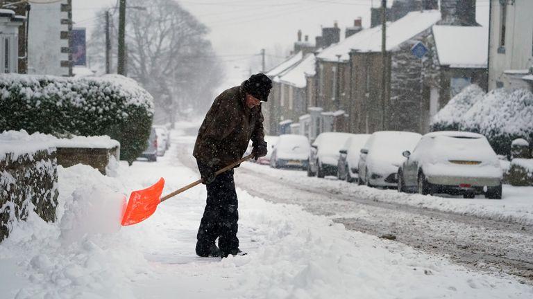 Heavy snowfall in Knaresbrough, North Yorkshire