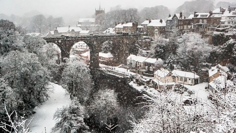 Snow covers the Knaresborough Viaduct in North Yorkshire