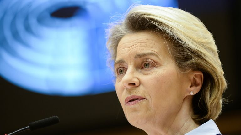 European Commission President Ursula von der Leyen debates the EU's coronavirus vaccination strategy in Brussels