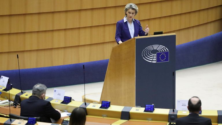 European Commission President Ursula von der Leyen looks at the EU's COVID-19 strategy in Brussels