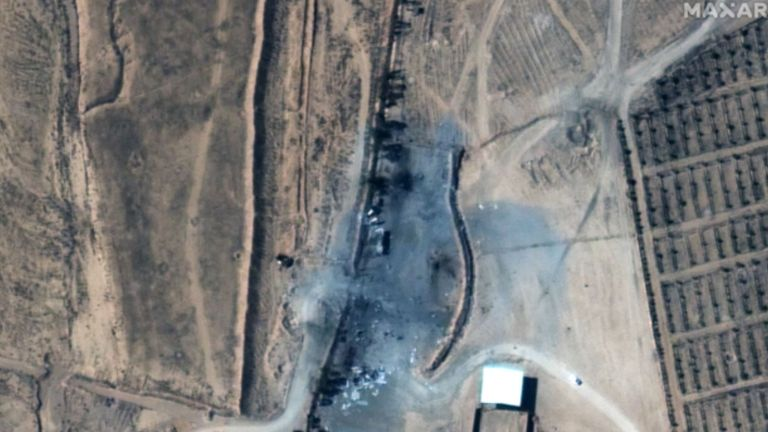 Nine buildings were destroyed and two heavily damaged by the airstrikes, the US said. Pic: 2021 Maxar Technologies