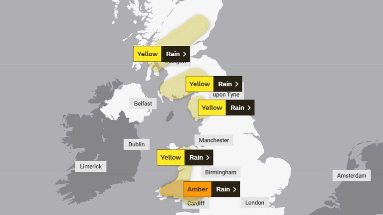 Yellow and amber weather warnings are in place for parts of the UK. Pic: Met Office