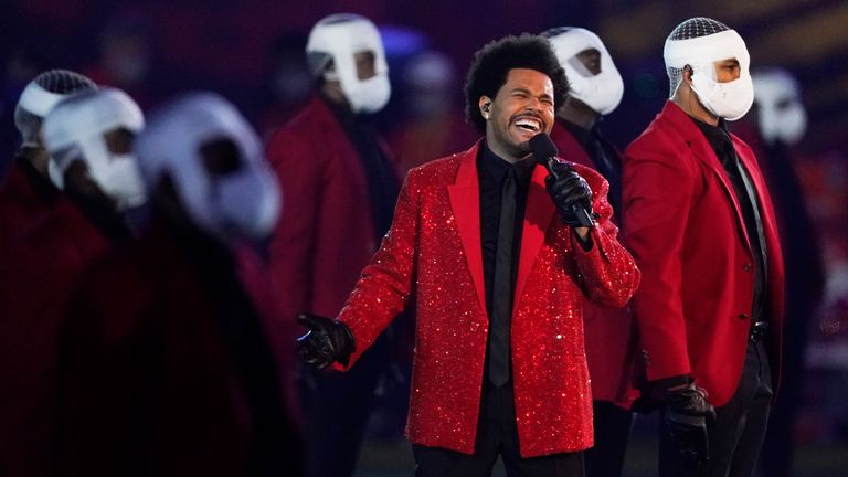 The Weeknd was this year's Halftime show performer. Pic: Associated Press