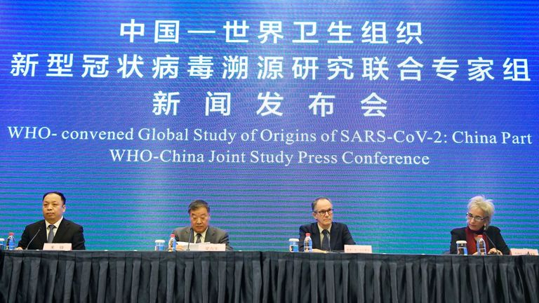 WHO scientists led a media briefing on their COVID-19 origin 'mission'. Pic: AP