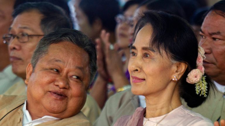 Win Htein is a close aide of Aung San Suu Kyi. Pic: AP