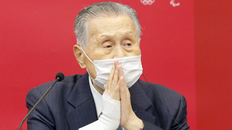 President of Tokyo 2020 Yoshiro Mori wears a face mask as he speaks during a joint press conference with John Coates, Chairman of the Coordination Commission for the Games of the XXXII Olympiad Tokyo 2020, at Harumi Island Triton Square Tower Y in Tokyo, Japan November 18, 2020. Rodrigo Reyes Marin/Pool via REUTERS