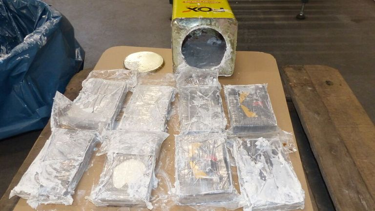 A photo supplied by the Zollfahndungsamt customs investigation office in Germany shows cocaine found in tins of wall filler in Hamburg