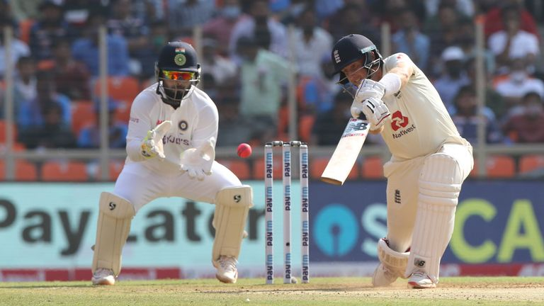 BCCI Credit - Joe Root (captain) of England  plays a shot during day one of the third PayTM test match between India and England held at the Narendra Modi Stadium, Ahmedabad, Gujarat, India on the 24th February 2021..Photo by Pankaj Nangia/ Sportzpics for BCCI