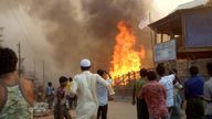 Fire ripped through the Balukhali Refugee Camp