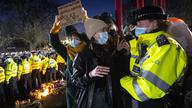 Police on Clapham Common on Saturday evening