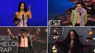 Dua Lipa, Harry Styles, H.E.R and Anderson .Paak (clockwise from top left) all took home gongs. Pics: AP