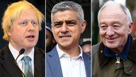 The three London mayors: Boris Johnson, Sadiq Khan and Ken Livingstone