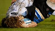 Players collide during the recent Gloucester-Bath Premiership Rugby game.