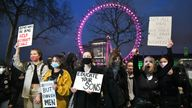 Demonstrators during a protest outside New Scotland Yard in memory of Sarah Everard