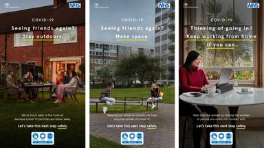 Department of Health & Social Care undated handout photo of the latest coronavirus advice adverts from the Government to remind the public that they must stay outside when meeting others as part of the next step of easing Covid restrictions. Issue date: Monday March 29, 2021.