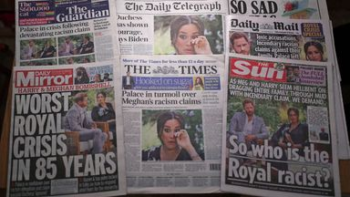 File photo dated 09/03/21 of the front pages of UK national newspapers showing the reaction to the interview of the Duke and Duchess of Sussex with Oprah Winfrey.