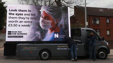 An ad board outside the Salford Royal Hospital, Manchester, by the Royal College of Nursing