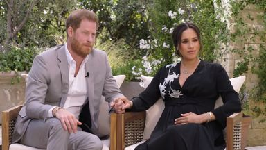 Harry and Meghan's interview with Oprah. Pic: CBS