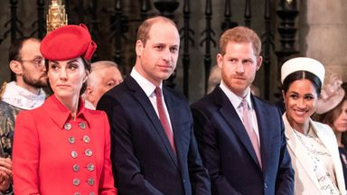 Harry and Meghan with Kate and William at Westminster Abbey in 2019