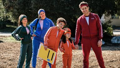 Jennifer Garner, Edgar Ramirez, Jenna Ortega, Julian Lerner and Everly Carganilla in Yes Day. Pic: Matt Kennedy/Netflix