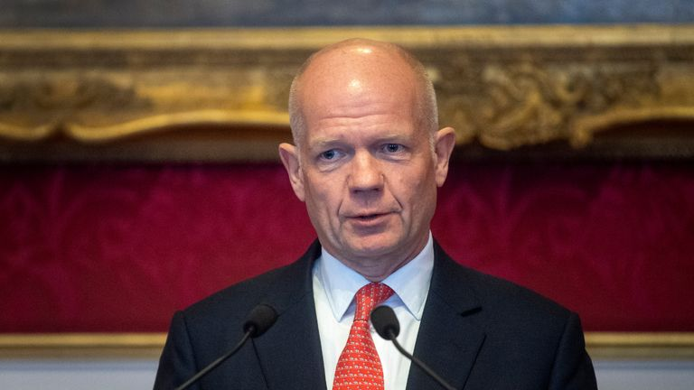 Lord William Hague makes a speech during the meeting of the United for Wildlife Taskforces at St James's Palace, London.