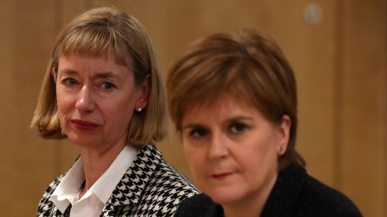 First Minister Nicola Sturgeon alongside Permanent Secretary to the Scottish Government Leslie Evans as they attend a Scottish Cabinet meeting on Brexit at Atlantic Quay, Glasgow.