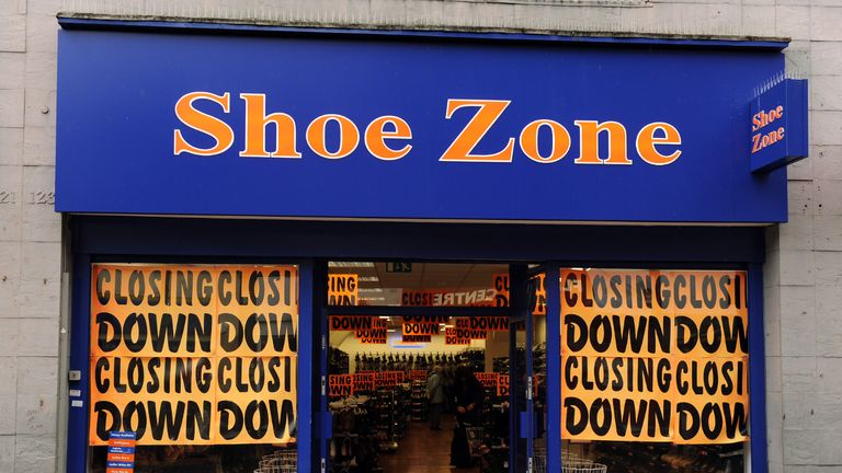 A general view of a Shoe Zone shop in Croydon in Greater London with a closing down sale. Croydon is one of twelve 'Portas Pilot' towns picked by Grant Schapps MP to receive help from retail guru Mary Portas to revitalise the area.