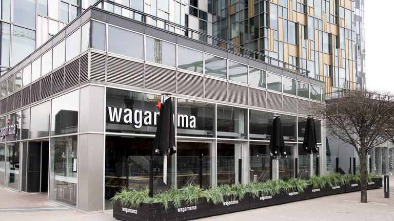 A closed Wagamama in Greenwich, London, during England's third national lockdown to curb the spread of coronavirus. Picture date: Sunday February 14, 2021.