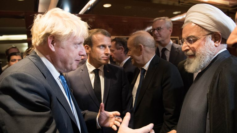 Prime Minister Boris Johnson (left), President of France Emmanuel Macron (centre) and President of Iran Hassan Rouhani (right) meeting at the 74th Session of the UN General Assembly, at the United Nations Headquarters in New York, USA.