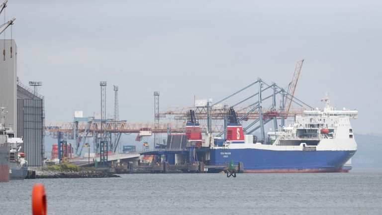 "A Stena Line ferry in Belfast Port as processes on goods moving from Great Britain to Northern Ireland will be kept to an ""absolute minimum"" following the end of the Brexit transition period, the UK Government said."