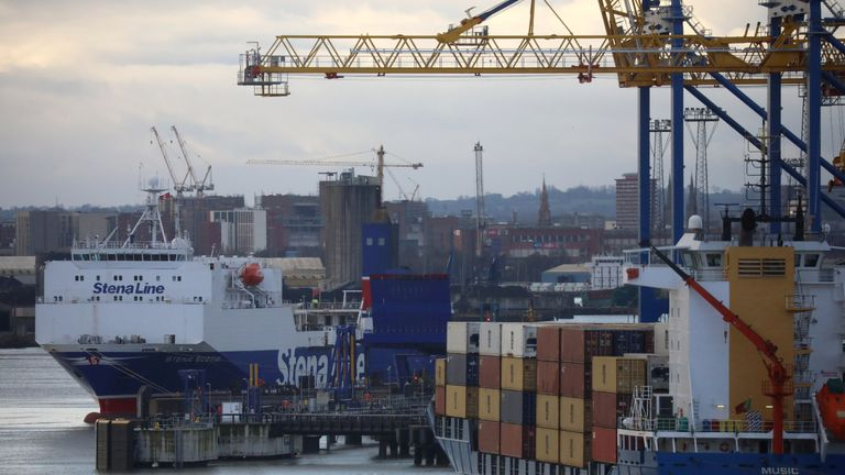 A Stena Line Irish Sea ferry is berthed next to a container ship at the Port of Belfast