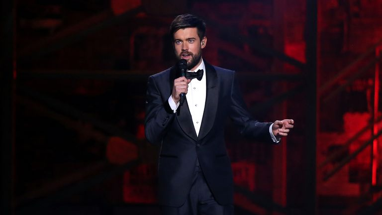 Jack Whitehall on stage at the Brit Awards 2020 at the O2 Arena, London.