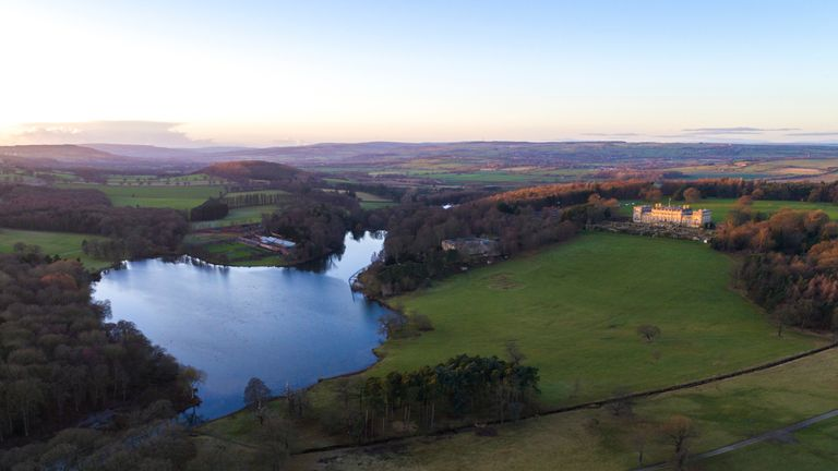Aerial image of Harewood House at sunset taken in December 2017.