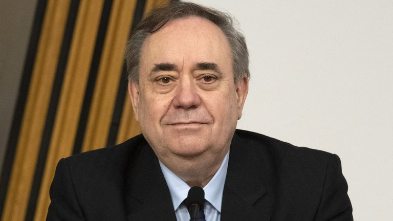 Former first minister Alex Salmond arrives to give evidence to a Scottish Parliament Harassment committee, at Holyrood in Edinburgh, examining the handling of harassment allegations him. Picture date: Friday February 26, 2021.