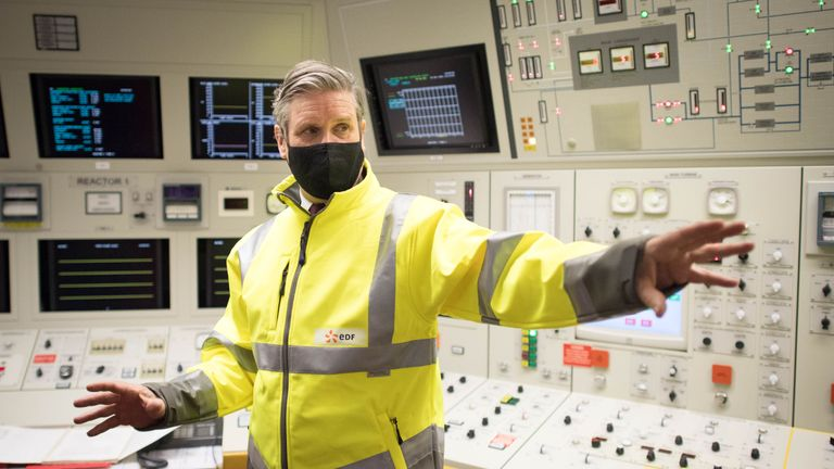 Labour Party leader Sir Keir Starmer visits Hartlepool Power Station with the party's by-election candidate, Dr Paul Williams, during a visit to the area. Picture date: Tuesday March 30, 2021.