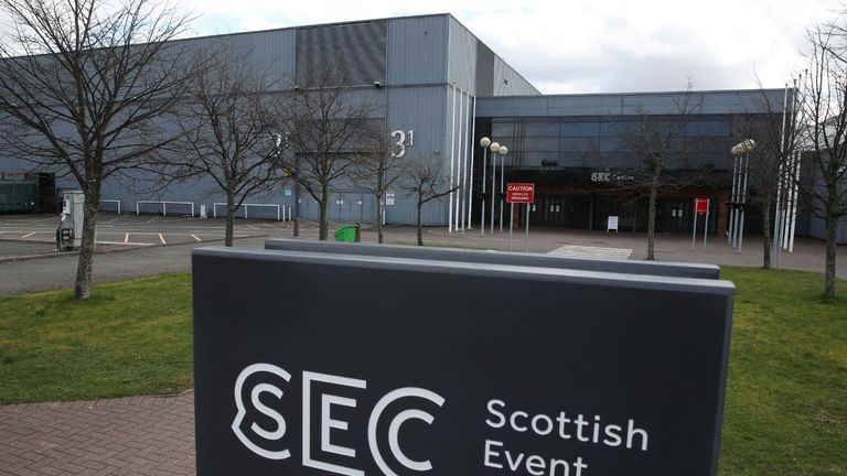 A general view of the Scottish Event Campus in Glasgow as the UK continues in lockdown to help curb the spread of the coronavirus.
