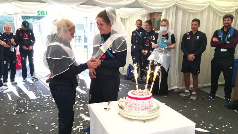Katherine Brunt says she was emotional as her England team-mates staged a 'would-have-been wedding' for her and Nat Sciver after their actual big day was postponed due to the coronavirus pandemic
