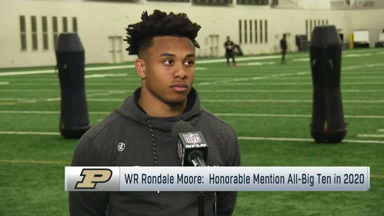 Purdue Wide Receiver Rondale Moore discusses his pro day workout results, including an unofficial 4.29 40-yard dash and 42 1/2 inch vertical.