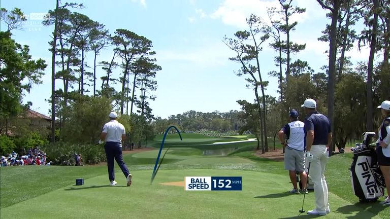 DeChambeau tops his tee shot into the water during the final round of The Players, only for playing partner Lee Westwood to also carve his effort into the hazard on the same hole!